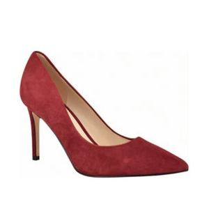 nine west Ezra pointy toe leather red pumps heels